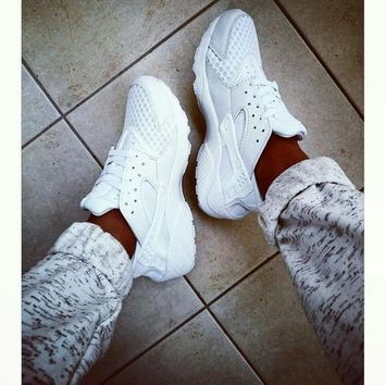 """NIKE"" AIR Huarache Running Sport Casual Shoes Sneakers White F"