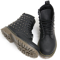 Womens Black Studded Spike Zip Combat Boots US 6 ~ 11 Lady Military Biker Shoes