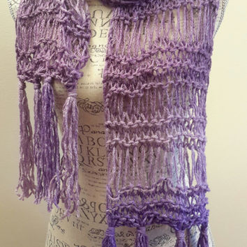Knit purple with hints of shimmer infinity scarf. drop stitch. Made by Bead Gs on Etsy. Lavender