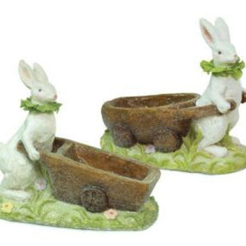 2 Easter Figures - Bunny With Wagon