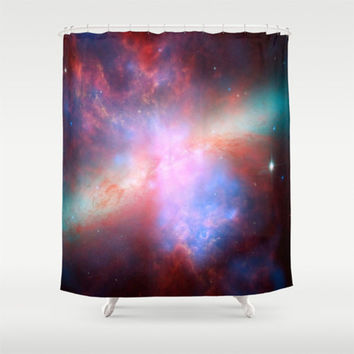 Shower Curtain - Bright nebula galaxy stars bear constellation hipster geek space nebulae landscape photo house bathroom home decor