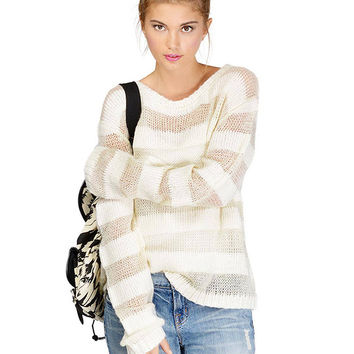Loose Knitted Jumper In Block Stripe