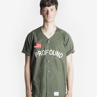 Button-Down Baseball Jersey: Olive