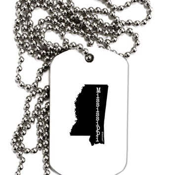 Mississippi - United States Shape Adult Dog Tag Chain Necklace