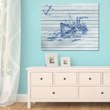 canik193 Canvas Print Artwork Stretched Gallery Wrapped Wall Art Painting sea boat anchor Size 26x32""