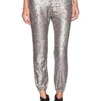 MapleClan Sliver Sequined Stretch Cropped Pants with Drawstring for Women
