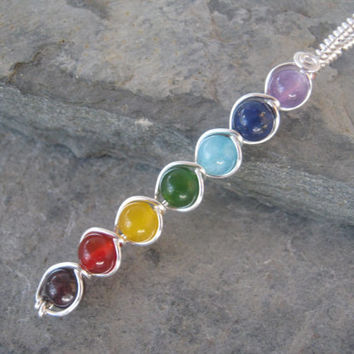 7 Chakra Pendant, Wire Wrapped Chakra Wand, Sterling Silver Plated, Chakra Rainbow, Gemstone Chakras Jewelry, READY To SHIP