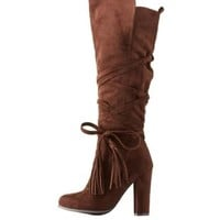 Brown Tassel-Wrapped Chunky Heel Boots by Charlotte Russe