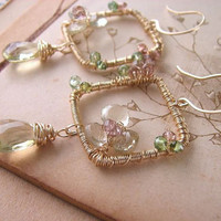Wire wrap gemstone earrings with lemon quartz and by shadowjewels