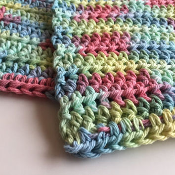 Pastel Crochet Dishcloths, Cotton Washcloths, Crochet Washrag, Pastel Kitchen Cloth