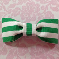 Bow Tie, Bowtie, Baby Bow Tie, Boys Bow Tie, Toddler Bow Tie, Clip On Bowtie, Green & White Striped Clip-On Bow Tie