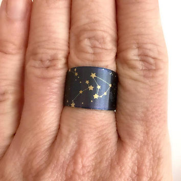 Constellation Cuff Ring, brass adjustable wide band stars zodiac dark blue night sky modern rings birthday gifts gift for her woman