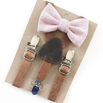 Rose Pink Baby & Toddler Bow Tie w/Leather Suspenders - FINAL SALE