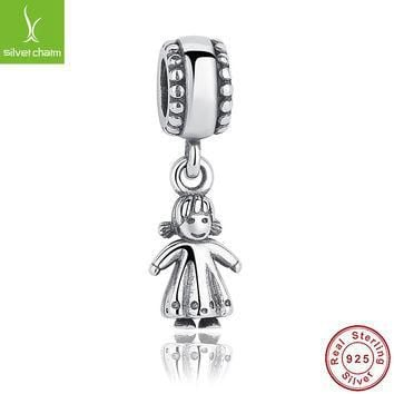 Real 925 Sterling Silver My Little Girl Charm Fit Original Pandora Bracelet Necklace A