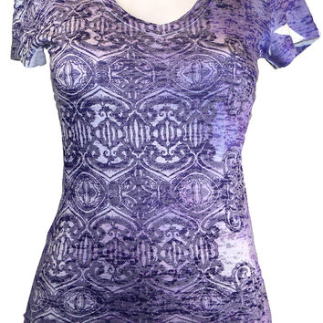 Purple Psychedelic Print Pattern Burnout Tee