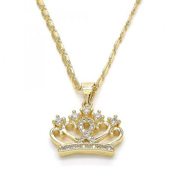 Gold Layered 04.195.0035.20 Fancy Necklace, Crown Design, with White Cubic Zirconia, Polished Finish, Golden Tone
