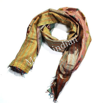 Silk Kantha Scarves,Vintage Kantha Silk Scarve, Handmade Silk Scarf, Girls Silk Wrap, Womans Kantha Scarves