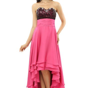 Hi Low 2018 Prom Dresses A-line Sweetheart Chiffon Sequins Crystal Fuchsia Maternity Long Prom Gown Evening Dresses Evening Gown