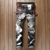 Men Patchwork Stylish Pants Jeans [10766087875]