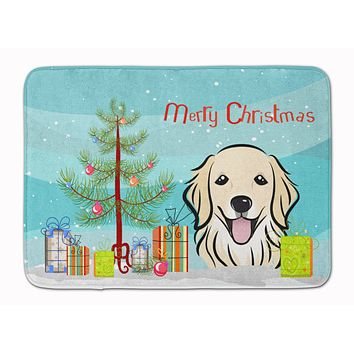 Christmas Tree and Golden Retriever Machine Washable Memory Foam Mat BB1577RUG