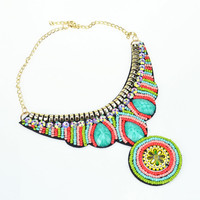 The new women's fashion collar ethnic statement necklace Gold Plated beads choker necklace the first choice of the presents