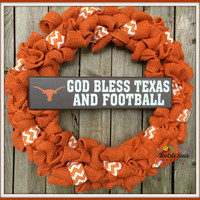 Texas Longhorns*Burlap, Orange Wreath, Orange and White Bow, Porch Wreath, Storm Door, Thin Wreath, Home Decor, Rustic, Wedding Wreath