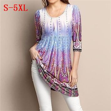 Plus Size Women Hot Tops Three Quarter Sleeve O Neck Vintage Printed T Shirts Summer Autumn 2018 Casual Loose Pleated Tees S-5XL