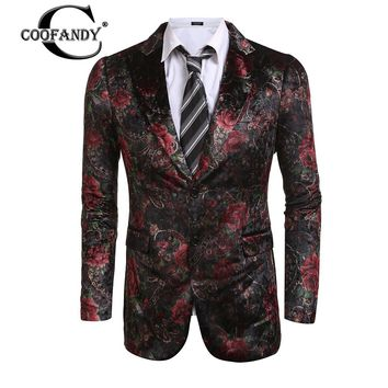 COOFANDY New Arrivals Male Suit Men Clothes Men Fashion Casual Lapel Floral Print Slim Fit 2-Button Blazer Jacket Free Shipping