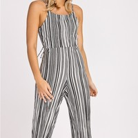 TAO BLACK AND WHITE SATIN PLEATED CROPPED JUMPSUIT