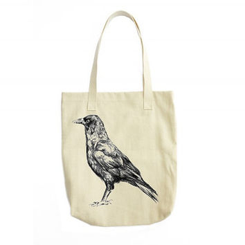 Crow Tote Bag, Canvas Messenger Bag, Canvas Tote Bag, Bird Illustration, Gothic Gifts, Crow Art, Girlfriend Gifts, Gift For Her