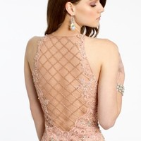 Beaded Lace Dress with Illusion Back
