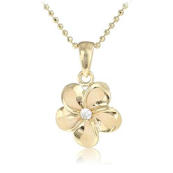 14K Yellow Gold Plumeria Pendant with Clear CZ(XS, S, M, L)