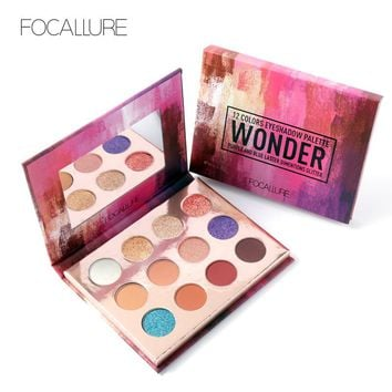 FOCALLURE Professional Glitter 12 Colors Eyeshadow Pallete Matte Wonder  Beauty Eye Shadow Cosmetics Make up