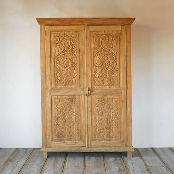 Carved Teak Fern Cabinet