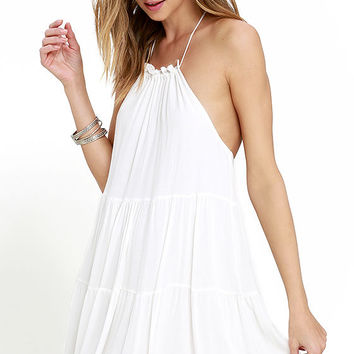 Such a Tease Ivory Halter Dress