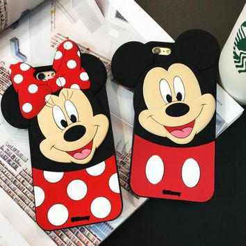 Disney 3D Mickey & Minnie mobile phone case for iPhone X 7 7plus 8 8plus iPhone6 6s plus