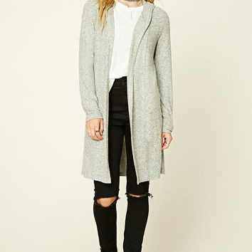 Marled Fleece Hooded Cardigan
