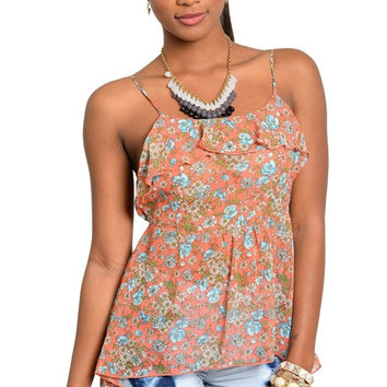 Sleeveless Ruffle Front Floral Print Top