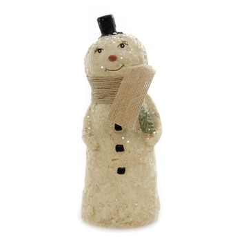 Christmas SMILEY SAM THE SNOWMAN Polyresin Folk Art Glittered Tree 66075