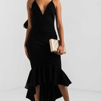 AKIRA Plunging Neckline Zip Up Frill Hem Soft Bodycon Midi Dress in Black