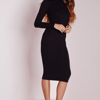 Missguided - Long Sleeve Roll Neck Jersey Midi Dress Black