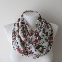 White Flower Print Infinity Scarf, Infinity Chiffon Scarf, Women Circle Scarf, Floral Loop Scarf, Spring Summer Fashion, Gift for Her