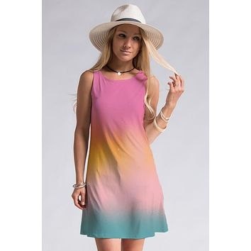 Shades of Sherbert Dress - Mauve and Teal