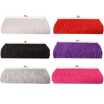 THINKTHENDO Bridal Satin Handbag Women Princess Clutch Bag Evening Party Cocktail Purse Tote