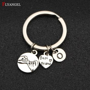 Custom A-Z Initial Letter Pinky Promise Best Friend Heart Charms Keychain Gift For Women Men Friends Keyring Fashion DIY Jewelry