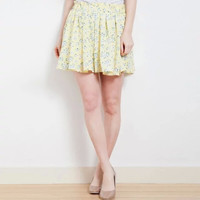 Floral Pleated Casual Mini Skirt