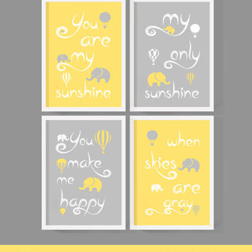 baby boy nursery wall saying you are my sunshine my only sunshine yellow gray elephant hot air ballon nursery quote new baby gift boy wall