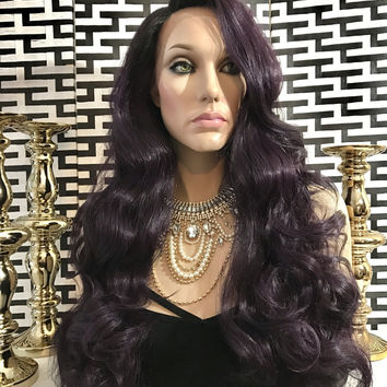 Dark Purple Rooted Hair Lace Front Wig OMBRE THICK CURLS