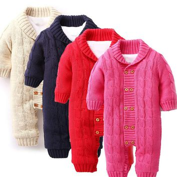 Free Shipping Knitted Cotton Baby Clothes Newborns Baby Button Rompers Lapel Knitted Thickened Sweater Jumpsuit #ES