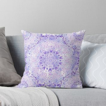 'Lilac Frost Tie-Dye Mandala' Throw Pillow by Nina May
